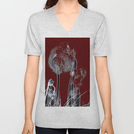 Abstract R/B Unisex V-Neck