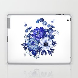 China Blue Porcelain, Asia, Peony, Flower, Floral, Cyan Laptop & iPad Skin