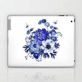 China Blue Porcelain, Asia, Peony, Flower, Floral, Cyan Laptop & iPad Skin