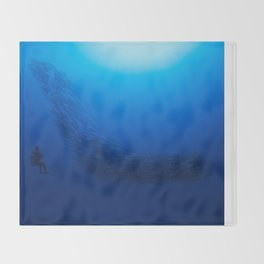 Watchful diver Throw Blanket