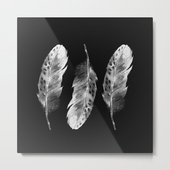 Three feathers on black background Metal Print