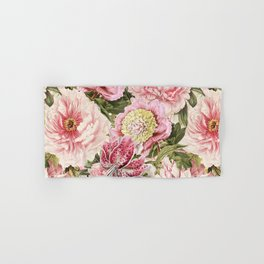 Vintage & Shabby Chic Floral Peony & Lily Flowers Watercolor Pattern Hand & Bath Towel