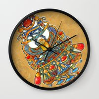 egypt Wall Clocks featuring Egypt - painting by oxana zaika