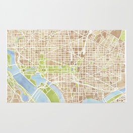 Washington DC watercolor city map Rug
