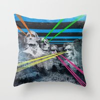 rushmore Throw Pillows featuring Mt Rushmore, Yo by Dan Howard