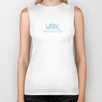 writer Biker Tanks featuring Writer by Indie Kindred