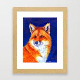 Colorful Red Fox Portrait Framed Art Print