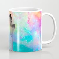 hobbes Mugs featuring Breathing Dreams Like Air (Wolf Howl Abstract) by soaring anchor designs