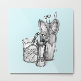 Bartender in turquoise Metal Print