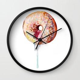 Pink Donut Sprinkles Wall Clock