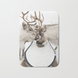 Herd Of Reindeers Eating In The Snow In Lapland Photo | Norway Animal Print | Travel Photography Bath Mat
