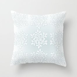 Crocheted Snowflake Ornaments on teal mist Throw Pillow