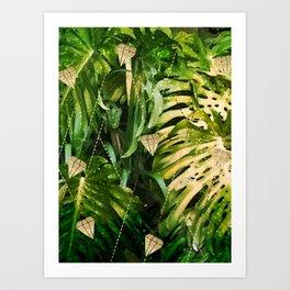 Leaf & gold Art Print