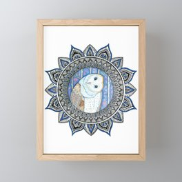 Winter Barn Owl Mandala Framed Mini Art Print