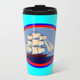 A Nautical Oval Ship and Anchors, red, white and blue Travel Mug