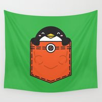 pocket Wall Tapestries featuring Pocket Penguin by Steven Toang