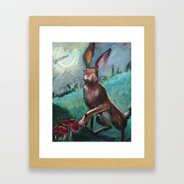 Rabbit Under the Moon Framed Art Print