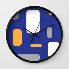 rounded rectangles on blue Wall Clock