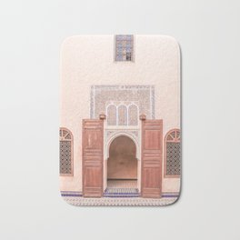 Wooden Door In Bahia Palace Marrakech Photo | Pastel Colors Art Print | Morocco Travel Photography Bath Mat