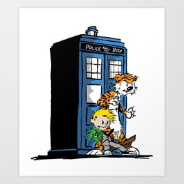 calvin and hobbes police box in action Art Print