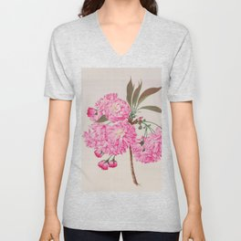 Barrier Mountain Cherry Blossoms Watercolor Unisex V-Neck