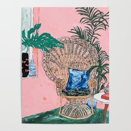 Peacock Chair in Pink Jungle Interior Poster