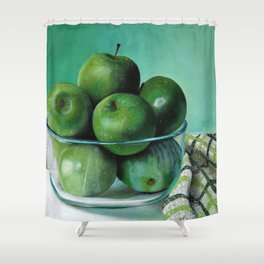 Green Apple and Tea Towel I Shower Curtain