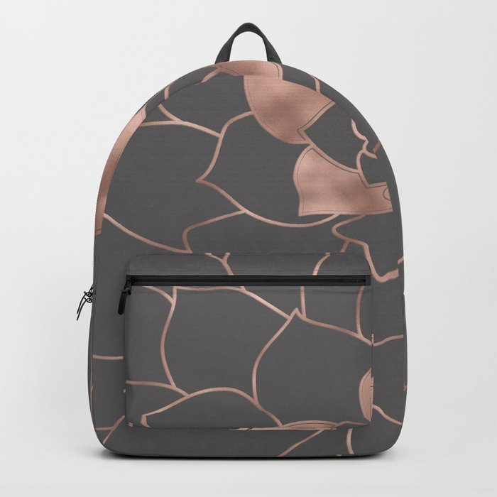 Rosegold  blossom on grey - Pink metal-effect flower Backpack