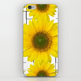 Sunflowers on a squar pattern white background #decor #society6 iPhone Skin