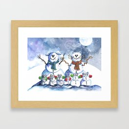 It's Snowing Cats and Dogs (and Mice too) Framed Art Print
