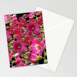WESTERN  PINK HOLLYHOCKS PATTERNED ART Stationery Cards