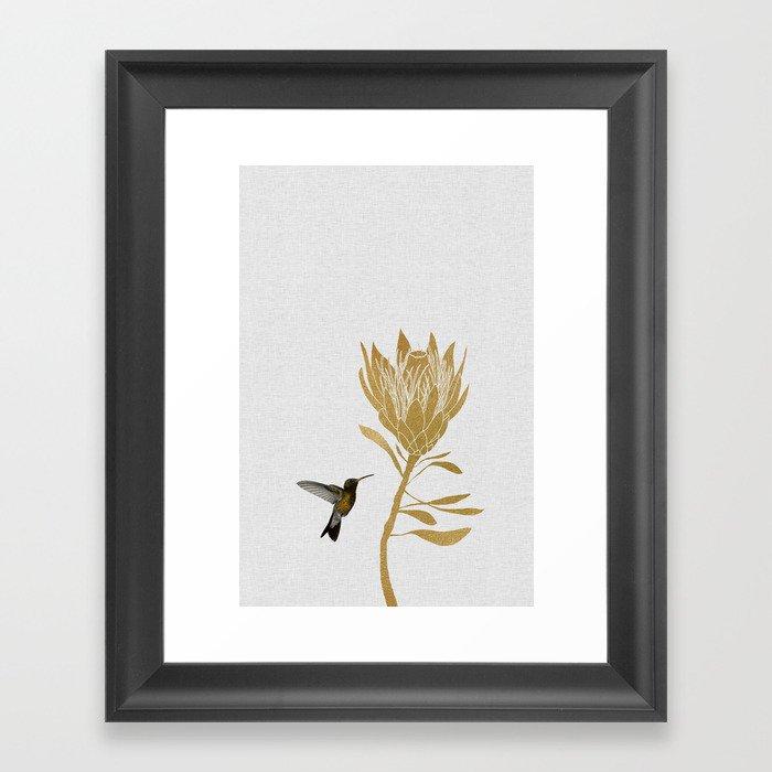 Hummingbird & Flower I Gerahmter Kunstdruck