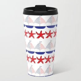 Nautical Pattern Small Sailboats and Starfishes Travel Mug