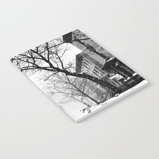 New York City At Snow Time Black and White Notebook