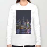 hong kong Long Sleeve T-shirts featuring Hong Kong Night Skyline by Deborah Janke