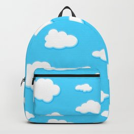 sky of blue and fluffly white clouds Backpack