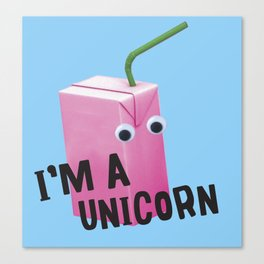 unicorn juice box Canvas Print