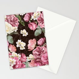 Bouquets of pink and white lush roses, tulips and jasmine. Stationery Cards