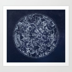 Vintage Constellations & Astrological Signs | White Art Print