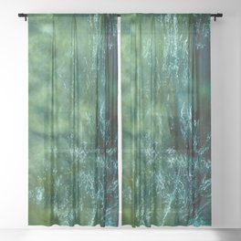 water drawing on a green background Sheer Curtain