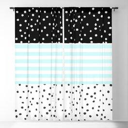 Modern black white teal stripes watercolor polka dots Blackout Curtain