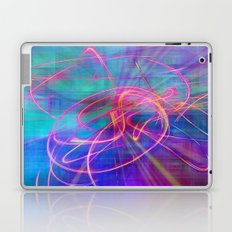Electric Neon Swirls of Light Abstract Laptop & iPad Skin