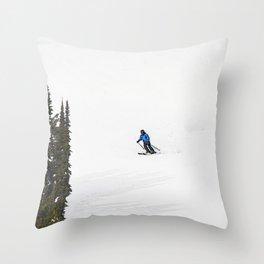 Downhill Skier - Winter Sports Scene Throw Pillow