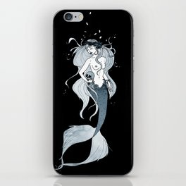 Mermaid with skull iPhone Skin