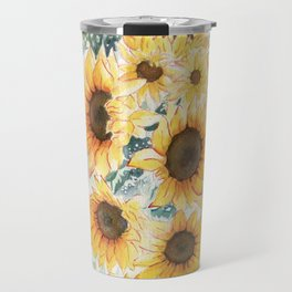 Loose Watercolor Sunflowers Travel Mug