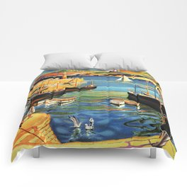 Vintage St. Ives Cornwall England Travel Comforters