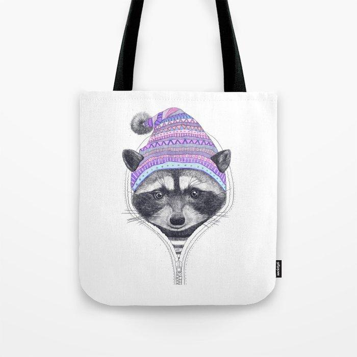 The raccoon in a hood Tote Bag