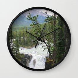 Misty Morning at Sunwapta Falls Wall Clock