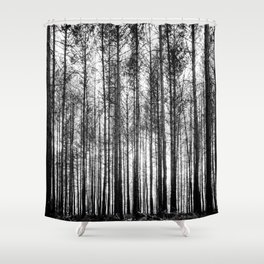 trees in forest landscape - black and white nature photography Shower Curtain