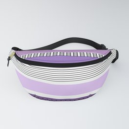 Purple Mixed Pattern With Stripes and Polka Shots Fanny Pack